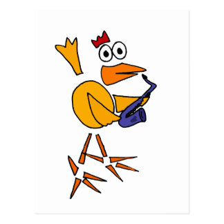 XX lustiges Huhn, das Saxophone-abstrakte Kunst Postkarte