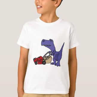 XX T-rex Dinosaurier, der Rasenmäher drückt T-Shirt