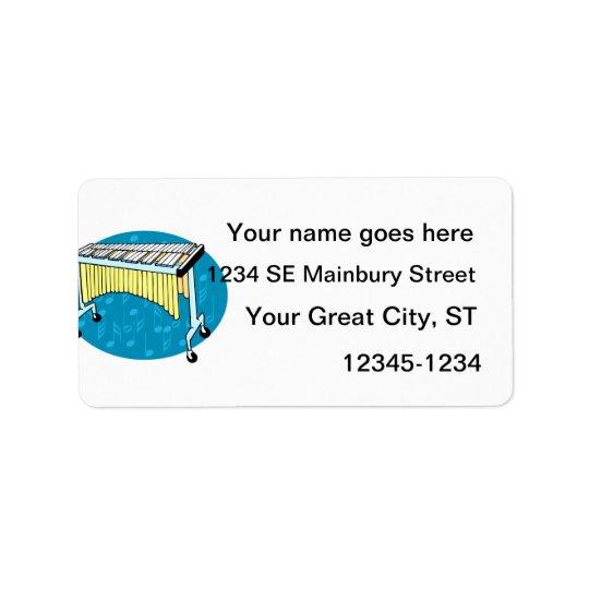Xylophonegraphik mit blauem Hintergrund Adressetikett