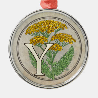 Y für Schafgarbe-Blumen-Monogramm Silbernes Ornament