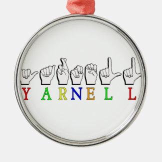 YARNELL ASL NAMENSzeichen FINGERSPELLED Rundes Silberfarbenes Ornament