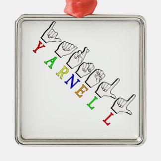 YARNELL FINGERSPELLED ASL NAMENSzeichen Quadratisches Silberfarbenes Ornament
