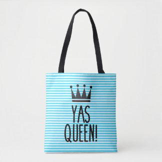 Yas Königin! Blaue und weiße gestreiftes Tasche