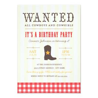 Yeehaw! Cowboy-Geburtstags-Party Einladung