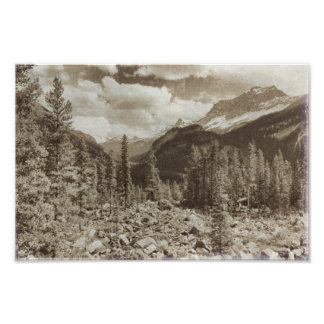 Yellowstone Nationalpark Sepia-Wyoming-Landschaft Fotodruck