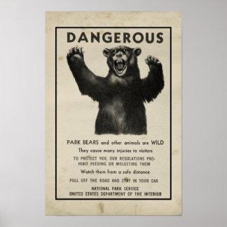 Yellowstone-Park-Bärn-Vintage Warnung 1959 Poster