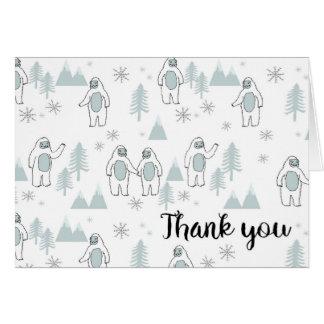 Yeti-Winter danken Ihnen zu kardieren Karte