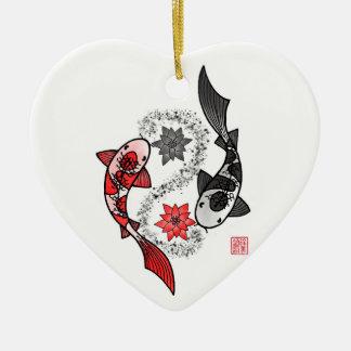 Yin und Fisch-Keramik-Verzierung Yang Koi Keramik Herz-Ornament