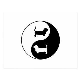Yin und Yang Basset Hound Postkarte