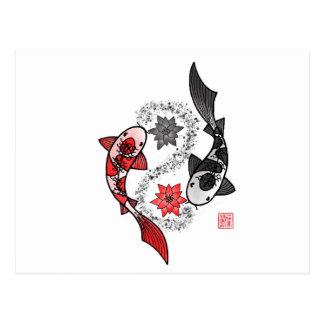 Yin und Yangs Koi Fische Postkarte