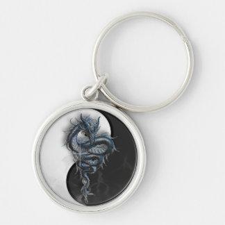 Yin Yang chinesischer Drache-runder Schlüsselring Silberfarbener Runder Schlüsselanhänger