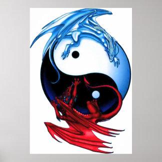Yin Yang Drache-Plakat Poster