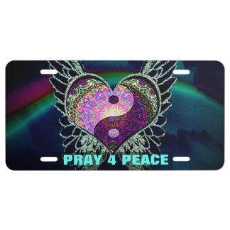 Yin Yang, Engels-Flügel, Herz beten für Frieden US Nummernschild
