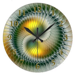 Yin Yang grünes gelbes abstraktes buntes Fraktal Große Wanduhr