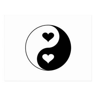 Yin Yang Herzen Postkarte
