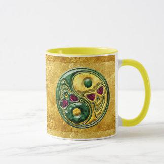 Yin Yang Jade-karminrotes Schädel-Medaillon Tasse