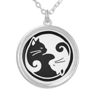 Yin Yang Katzen-Halskette Halskette Mit Rundem Anhänger