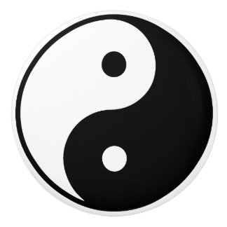 Yin Yang Keramik-Fach-Zug Keramikknauf