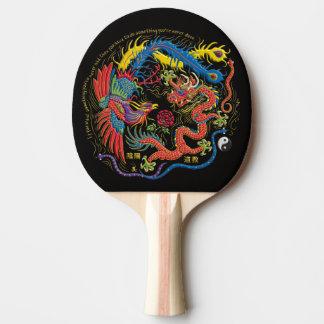 Yin Yang Phoenix und Drache-Klingeln Pong Paddel Tischtennis Schläger