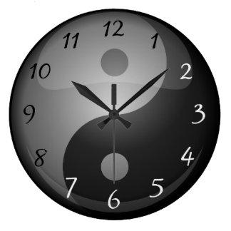 Yin Yang Schwarzweiss-Zahlen Große Wanduhr