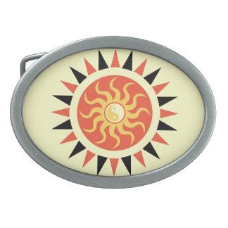 Yin Yang Sonnenschein Ovale Gürtelschnallen