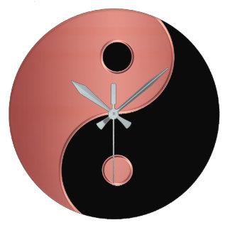Yin Yang Uhr im Kupfer oder Lehm und Schwarzes