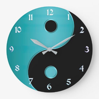 Yin Yang Uhr im Türkis und im Schwarzen