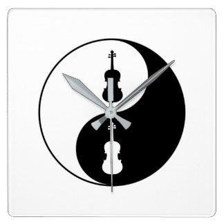 Yin Yang Viola Quadratische Wanduhr