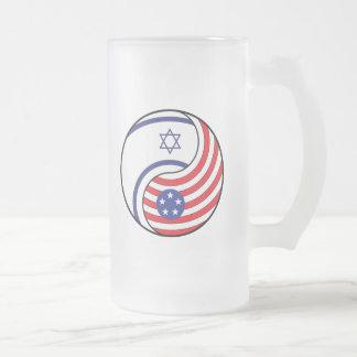 Ying Yang Israel Amerika Mattglas Bierglas