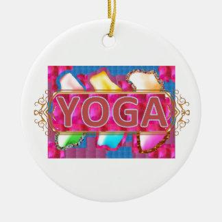 YOGA bezaubernder Energie-Druck Rundes Keramik Ornament