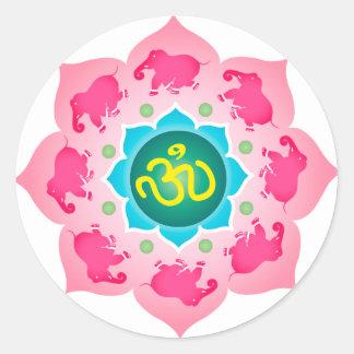 Yoga de l'OM de fleur de Namaste Lotus Sticker Rond