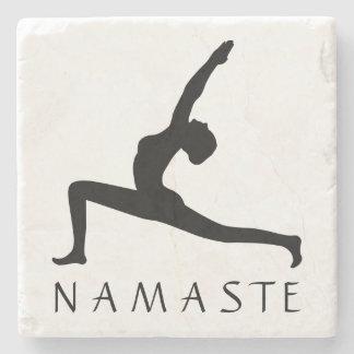 Yoga-Frau, die Silhouette-kundenspezifische Steinuntersetzer
