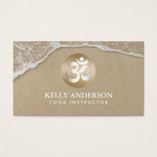 Yoga-Goldom-Symbol-nobler Strand-Sand u. Wasser Visitenkarten