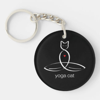 Yoga-Katze - regelmäßiger Arttext Schlüsselanhänger