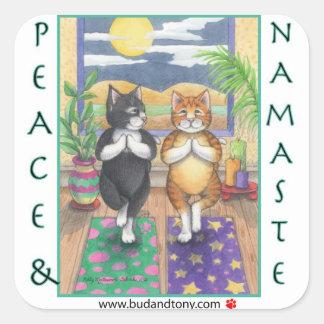 Yoga-Katzen Knospe u. Tony-Aufkleber Quadratischer Aufkleber