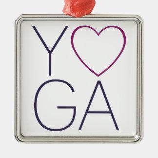 Yoga-Liebe Quadratisches Silberfarbenes Ornament