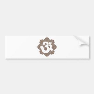 Yoga OM dans le gris brun de Lotus Autocollant De Voiture