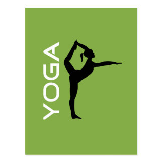 Yoga-Pose-Silhouette auf grünem Hintergrund Postkarte