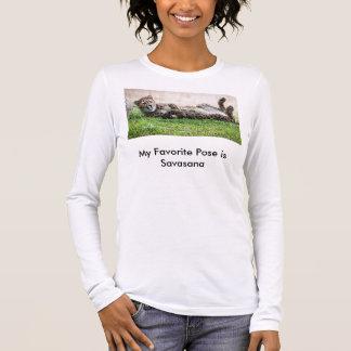 Yoga-T - Shirt, Cheetah in Savasana Pose Langarm T-Shirt