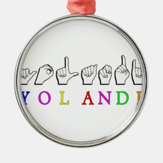 YOLANDI ASL FINGERSPELLED NAMENSzeichen Silbernes Ornament