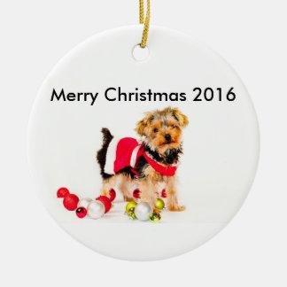 Yorkie frohe Weihnacht-Verzierung Rundes Keramik Ornament