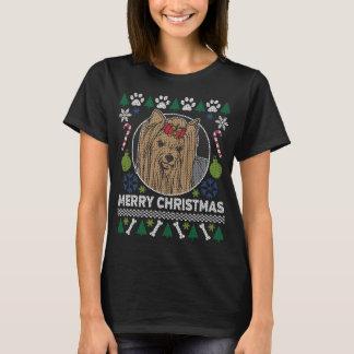 Yorkie Hundezucht-hässliche Weihnachtsstrickjacke T-Shirt