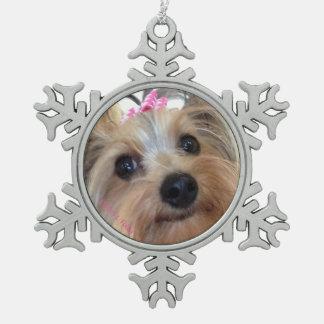 Yorkie Schneeflocke-Weihnachtsverzierung Schneeflocken Zinn-Ornament