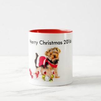 Yorkie Weihnachtskaffee-Tasse Zweifarbige Tasse