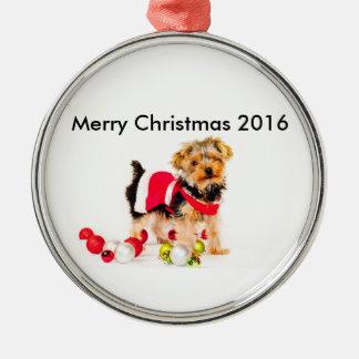 Yorkie Weihnachtsverzierung Rundes Silberfarbenes Ornament