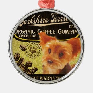 Yorkshire-Terrier-Marke - Organic Coffee Company Rundes Silberfarbenes Ornament