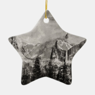 Yosemite-Park im Winter Keramik Ornament