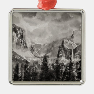 Yosemite-Park im Winter Silbernes Ornament