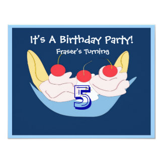 Yummy Banana- splitgeburtstags-Party Einladung