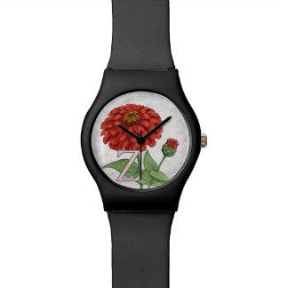 Z für Zinnia-Blumen-Monogramm-Blumenkunst Armbanduhr